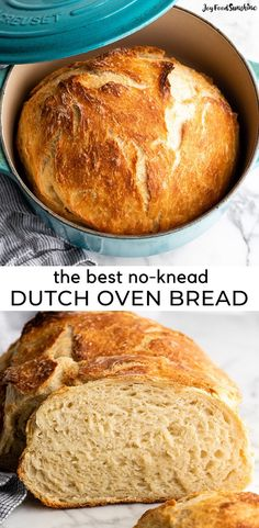 Easy No Knead Bread Recipe is made with only 4 ingredients and 5 minutes of prep! Homemade dutch oven bread that Artisan Bread Recipes, Yeast Bread Recipes, Quick Bread Recipes, Bread Machine Recipes, Easy Bread, Baking Recipes, Easy Dutch Oven Recipes, Same Day Bread Recipe, No Oven Recipes