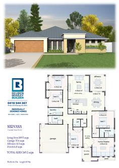 Affordable Quality Homes - Nirvana 245 (change bed 2 to study or HT) or bed 2 guest and office *** One Level House Plans, New House Plans, Dream House Plans, Small House Plans, House Floor Plans, New Home Designs, Home Design Plans, Building Design, Building A House