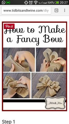 PERFECT Burlap Bow Tutorial I had no idea how to make bows before this. Super clear, step-by-step directions and pictures.Welcome to Ideas of Simply Sweet DIY Burlap Bow article. In this post, you'll enjoy a picture of Simply Sweet DIY Burlap Bow des Holiday Crafts, Fun Crafts, Diy And Crafts, Christmas Crafts, Christmas Bows, Holiday Decor, Holiday Quote, Thanksgiving Holiday, Christmas Tree Toppers