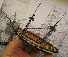 My waterline model of the fictional brig H.M.S. Sophie from the first Aubrey/Maturin novel, which in turn was based on the real H.M.S. Speedy of Lord Chochraen fame.  https://en.wikipedia.org/wiki/HMS_Speedy_(1782) This is another Jersey City Frankie model.