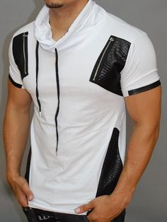 patterned layers on the sides and the shoulders. a real head tuner, a true show-stopper Casual T Shirts, Cool T Shirts, Men Casual, Blue Suit Men, Stylish Mens Outfits, Camisa Polo, Mens Sweatshirts, Workout Shirts, Shirt Style