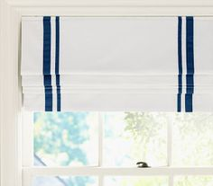 Add two widths of ribbon to white roman shade!