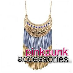Blue and Gold Chain Long Necklace  ~Shop Pink Punk~