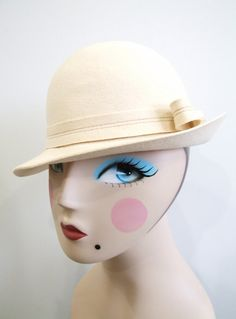 1960s Wool Hat Vintage 60s Ivory Felt Cloche by RedsThreadsVintage, $35.00