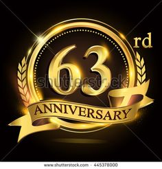 63rd golden anniversary logo with ring and ribbon, laurel wreath vector design. - stock vector