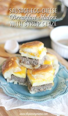 Perfect idea for a bridal shower or baby shower brunch.  Sausage egg and cheese sliders with syrup glaze recipe.