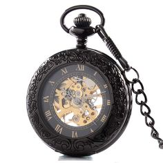 High Quality Antique Black Skeleton Steampunk Mechanical Pocket Watch For Man Pendant Gift P423