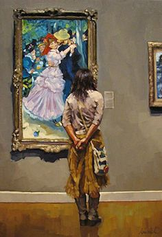Artist: Karin Jurick, oil on masonite {contemporary #impressionist art woman standing in art gallery examining painting} karinjurick.com
