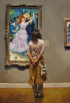 Artist: Karin Jurick, oil on masonite {contemporary #impressionist art woman standing in art gallery examining painting} karinjurick.com