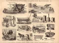 1885 Agricultural Machines Antique Print, Farming, Gardening, Potato Planting, Farm Machinery, Tools, Seeds, Agriculture, German Lithograph on Etsy, $21.02