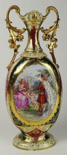 20th Century Austrian Royal Vienna Type Porcelain Vase