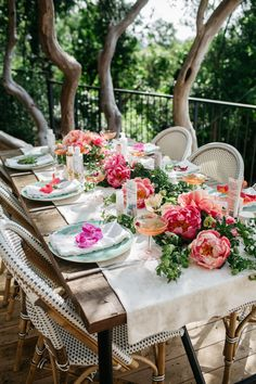 mother's day inspiration // Spring garden party table set with peonies and Riviera Side Chairs.