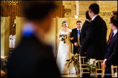 Proud Father of the Bride walks Laura down the aisle at the Tithe Barn -