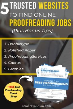 Unsure about where to start searching for trusted websites that offer online proofreading jobs for beginners? Heres a list of websites and online companies that hire freelance proofreaders or remote self-employed contractors. Legit Work From Home, Work From Home Tips, Home Based Business, Online Business, Business Tips, Way To Make Money, Make Money Online, List Of Websites, List Of Jobs