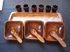 Vintage Wood Serving Tray Bowls Shot Glass Set Tiki Pool Deck Cocktail Barware