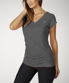 Heather Charcoal Ruched Slim V-Neck Tee