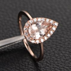 VVS2 Pear Cut Morganite Engagement Ring with Moissanite Halo,14K Rose Gold/14k Yellow Gold/14K White Gold Metal Color Options on Etsy, $359.00