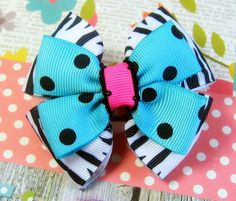 Turquoise Zebra Hair Bow / Girls Hair bow / by TheBowfairyBowtique, $4.25