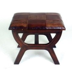 International Caravan Rectangular Stool with Wood Legs Leather Stool, Leather Ottoman, Stool Chair, Wood Stool, White Bar Stools, Vanity Stool, Unique Furniture, Caravan, Seville