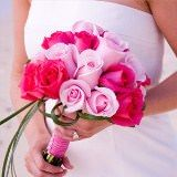(DUO) Bridal Bouquet Romantic Dark Pink and Light Pink Roses [Include Flower Food]
