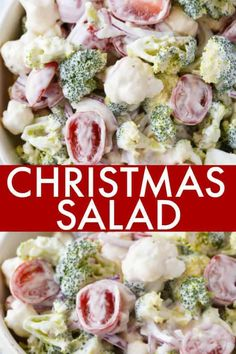 Christmas Salad Christmas Salad - Contains all the colors of Christmas! This fresh, bright salad is made with broccoli, cauliflower, red onion and cherry tomatoes mixed with a creamy dressing. Christmas Salad Recipes, Holiday Recipes, Cooking Recipes, Healthy Recipes, Cooking Bacon, Christmas Cooking, Christmas Potluck, Christmas Foods, Christmas Dinner Side Dishes