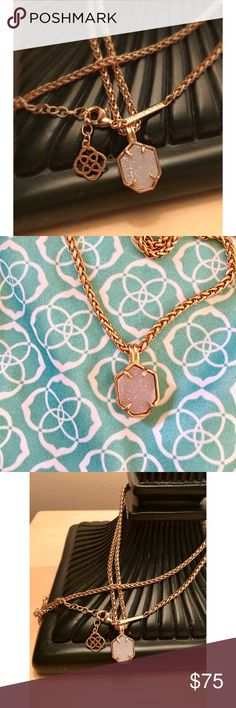 Kendra Scott Oliver Rose Gold iridescent drusy Like new Kendra Scott Oliver Rose Gold iridescent drusy necklace. Worn twice, absolutely no signs of wear. Comes with dust bag. Beautiful piece and difficult to find. Kendra Scott Jewelry Necklaces