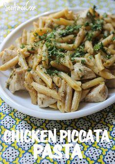 See Aimee Cook: Chicken Piccata Pasta - add artichoke hearts & I'm a happy girl!!