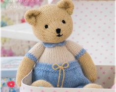 Pattern ONLY available in ENGLISH / INSTANT Download Method: In the round (seamless) Finished Bear Height: 27cm/ 10.6 (a smaller Tearoom Bear) Minimal amount of sewing Basic knitting stitches used Double Knitting (light worsted/8 ply) for both body and clothes (Pattern uses alpaca in 3 shades) Eyes are knitted (not embroidered) and easy to apply Dress is seamless and easily removeable Pattern also includes... Detailed step by step guide of how to create a knitted bear Lis...