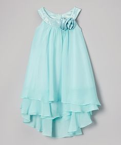 Look at this Princess Diaries Aqua Rosette Tiered Yoke Dress - Girls on #zulily today!