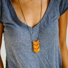 Leather Triple Chevron Necklace
