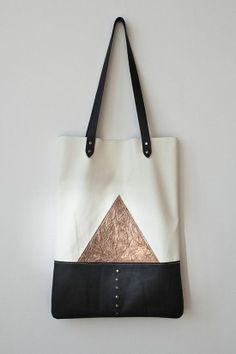 Metallic And White Leather Tote