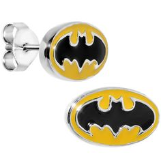 Officially Licensed Batman Yellow Stud Earrings | Body Candy Body Jewelry #bodycandy