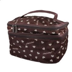 Women Heart Printed Zipper Double Layer Cosmetic Bag Pouch Coffee Color. View website for more description.