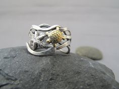 Brass Turtle and Silver Starfish Kelp ring by simplyMegA on Etsy