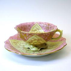 Antique unusual form Ovingtons cabinet cup and saucer-pink shawl