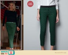 Jane wore these crazy green pants on Happy Endings last night, they are on sale at Zara for $39.99! http://wornontv.net/9956/