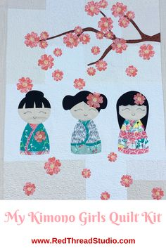 Make this adorable quilt with three beautiful kimono girls and a cherry blossom branch. #quilting