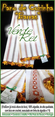 "Kitchen cloth ""Stripes"" (100% cotton) with crochet beak (100% cotton thread)."
