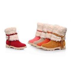 Women's Shoes Round Toe Chunky Heel Mid-Calf Boots with Fur More Colors available – GBP £ 24.08