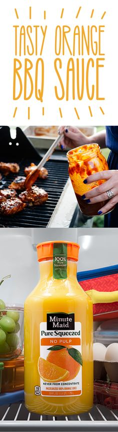 Tasty Orange BBQ Sauce Are you looking for a delicious twist on your normal sauce? Try our Orange BBQ Sauce recipe, perfect for ribs, hamburgers, chicken, and more. The Minute Maid Orange Juice makes for a tasty flavor you won't find elsewhere. It's eas Pesto, Orange Juice Chicken Marinade, Orange Sauce For Chicken, Sauce Recipes, Chicken Recipes, Bbq Chicken, Grilling Recipes, Cooking Recipes, Kitchen
