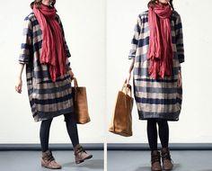 $59 Buykud Women Wool Dress Loose Dress Autumn Dress 3/4 Sleeve Dress Large Size Dress