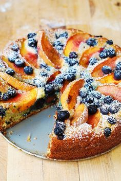 Peach and Blueberry Greek Yogurt Cake/Awesome. I put some extra peaches and blueberries on top halfway through baking. Will make again.