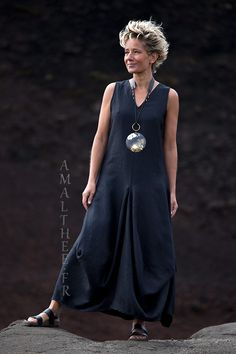 Long black linen summer dress with drape panels