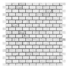 Bianco Carrara Brick Marble Mosaic - 12in. x 12in. - 931100250   Floor and Decor