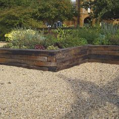 Old Reclaimed Railway Sleepers - Natural Stone Paving & Landscaping Supplies in Hampshire Landscape Stairs, Small Garden Landscape, Hillside Garden, Terrace Garden, Garden Beds, Retaining Wall Patio, Landscaping Retaining Walls, Driveway Landscaping, Railroad Tie Retaining Wall