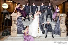 bridal party fun, Bridal Party Formal on Steps, large bridal party pose, Pittsburgh Carnegie Museum Wedding, gray and purple bridesmaid dresses, Pittsburgh Wedding, photo by: Francine Smith, TimeSmart Images