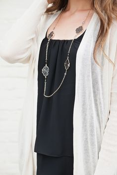 Dolman Sleeve Cardigan | White Sweater | Black Chiffon Tank Top | Layering Necklace | Shop Fall Fashion at Hoity Toity