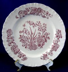 Wedgwood Plate Mulberry Transfer Floral Queens Ware Lunch Plate 1950s Purple Transfer