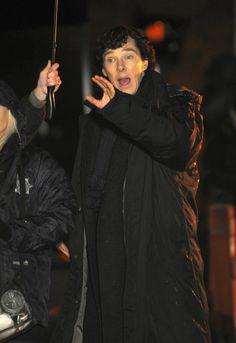 Benedict Cumberbatch Photos: Benedict Cumberbatch Films 'Sherlock' in London
