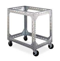slotted angle bar with wheels - cool idea to make a garage or cool grill cart.